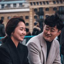 Romantic Asian couple flirting