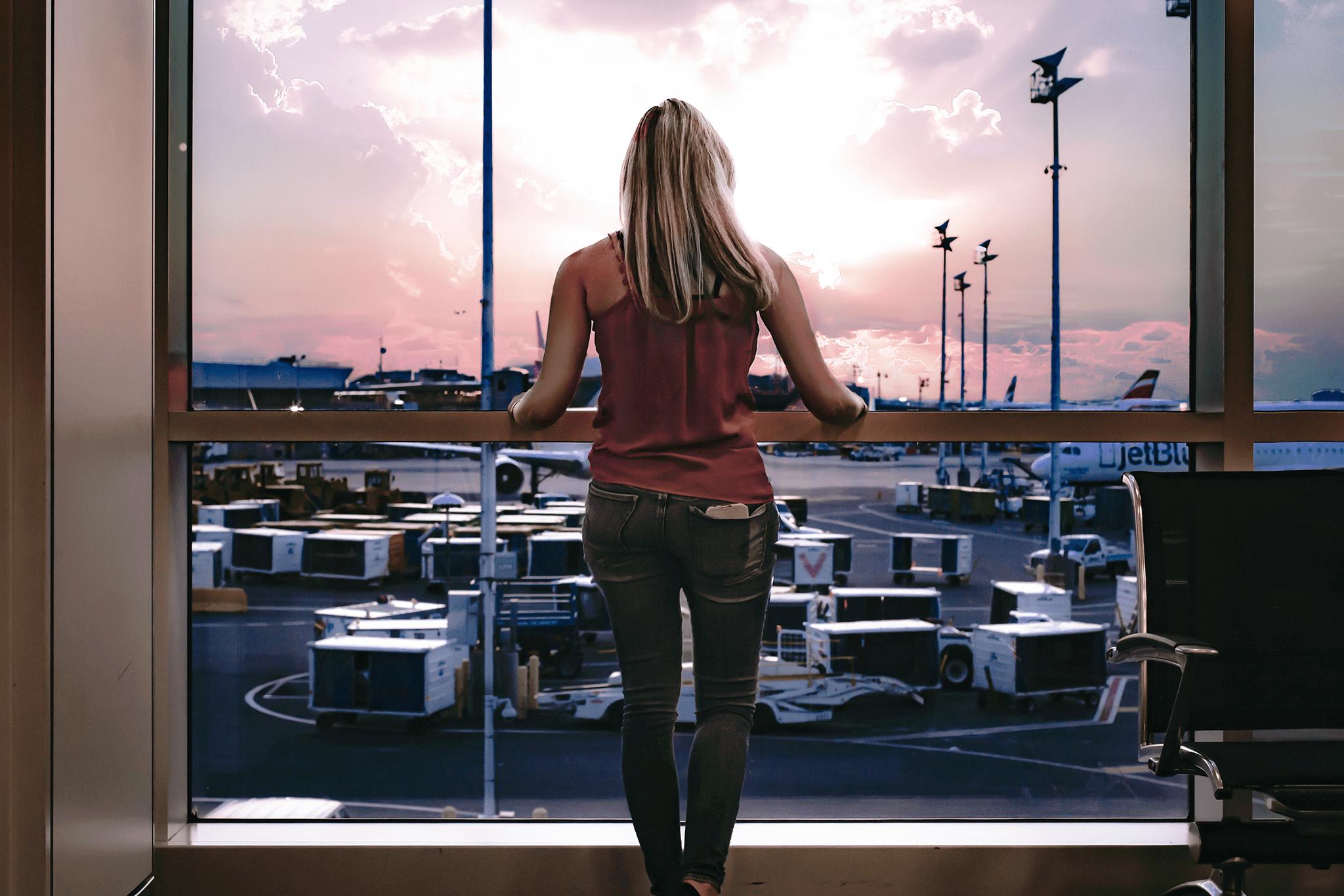 Woman at airport sacramento davis california