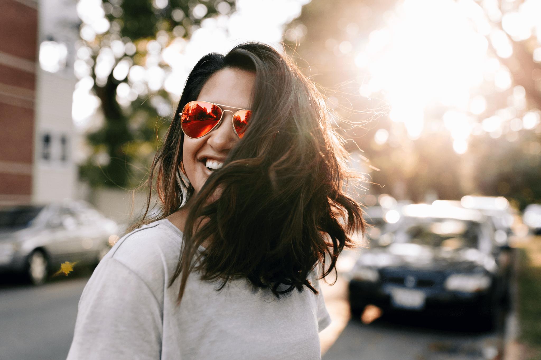 woman smiling in California